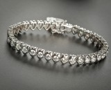 18 kt white gold rivière-Armband, brilliant-cut diamonds