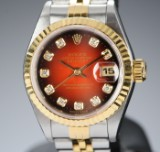 Rolex Oyster Perpetual Datejust, ladies watch, 18 karat gold and steel with diamonds