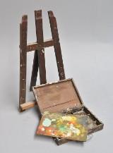 Bordstaffeli og palet/malerkasse i bejdset træ(2)