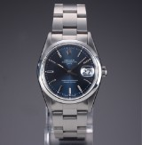 Rolex 'Date'. Men's watch, steel with blue dial with date, c. 1997