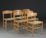 Børge Mogensen. Seks shakerstole, model J-39, bøgetræ (6)