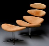 Poul M. Volther. Corona lounge chair, Model EJ 5, with accompanying ottoman, vegetable leather (2)