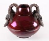 Karl Hansen Reistrup for Kähler. Vase in dark luster glaze with two lobsters