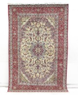 Hand-knotted rug, figural Isfahan, Persia, 251x158
