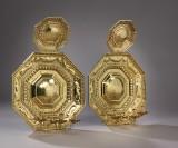 Et par store barok skjoldlampetter af messing, 1700-tallet. (2)