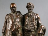 Lauritz Tuxen. Figural group, patinated bronze, depicting the painters P.S. Krøyer and Michael Ancher