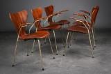 Arne Jacobsen. Five armchairs, rosewood, model 3207 (5)