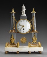 French Louis XVI mantel clock, white and grey marble, embellishments in gilt bronze