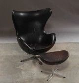 Arne Jacobsen. Lounge chair, The Egg, and ottoman, model 3316, numbered, produced May 1971 (2)