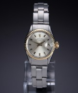 Rolex 'Date'. Vintage ladies watch, steel with gold bezel, c. 1965
