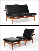 Finn Juhl. Japan lounge chair, stool and two-person sofa in teak model FD 137 and FD 137/2