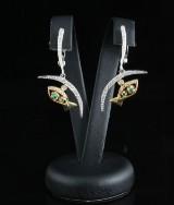 Diamond emerald earrings in 14kt approx.0.40ct