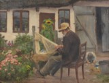 H.A. Brendekilde. Fisherman mending nets in front of his house. Oil on canvas