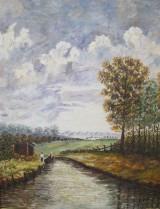 Unbekannter Künstler, Öl auf Hartfaserplatte, Landschaft mit Fluss