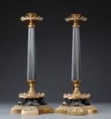 Et par lysestager af bronze, empireform, 1900-tallet (2)