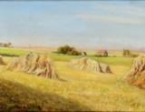 Ubekendt kunstner, olie på lærred, landskab med høstakke