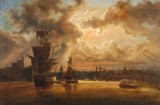 Attribted to Marcus Larson, sunset, Stockholm, oil on canvas
