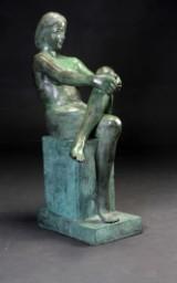 Unknown artist. Sculpture, seated woman, bronze, c. 2000