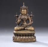 Buddha af bronze, siddende på lotustrone, Tibet, 1900-tallet