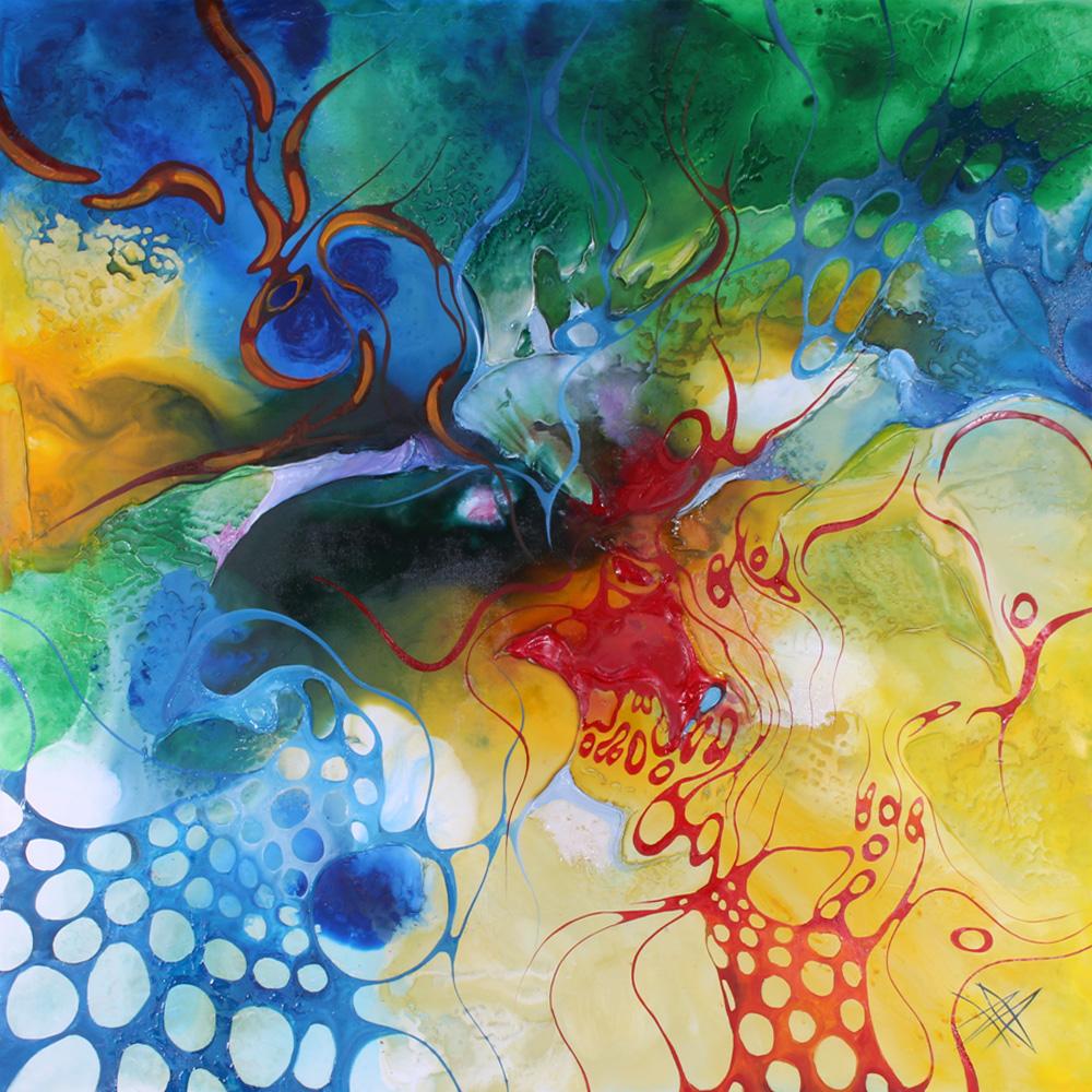 Bozena Ossowski, mixed-media på lærred, Enjoy Summer - Enjoy Summer af Bozena Ossowski f.1964, mixed-media på lærred, sign., certifikat udstedt af kunstneren medfølger, 100x100 cm. U.R