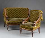 Attributed to Vilh. Dahlerup or Thorphilus Hansen: Sofa and armchair, carved with fabulous creatures, 1860-80 (2)