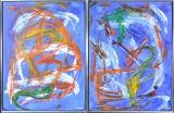 Peder Ravn, akryl på lærred, kompositioner (2)