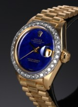 Rolex 'Datejust'. Vintage ladies watch, 18 kt. gold with lapis lazuli dial and diamond bezel - papers from 1978