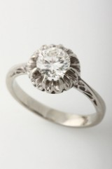 Vintage diamond solitaire ring, approx. 0.93 ct., W/VVS2, 18 kt. white gold