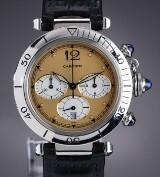 Cartier 'Pasha Chronograph'. Herreur i stål lys 'safari' skive, 2000'erne