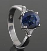 18kt. diamond & sapphire ring approx. 0.28ct & 3.34ct.