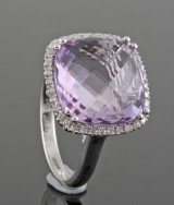 Diamond and amethyst ring approx. 0.25ct