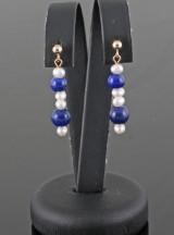 Cultured fresh water pearl & Lapis lazulli earrings (2)