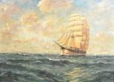 Oliemaleri, K. Rettner, 'Segelschiff auf hoher See'