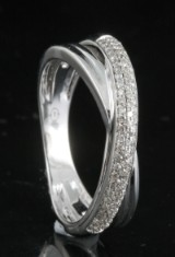 Diamond ring, 18kt. white gold, approx. 0.21ct.