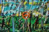 Jon Gislason. Komposition, 'Forår', olie og akryl på lærred