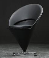 Verner Panton. Cone chair, black leather