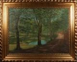 Ubekendt kunstner, olie på lærred, skovparti