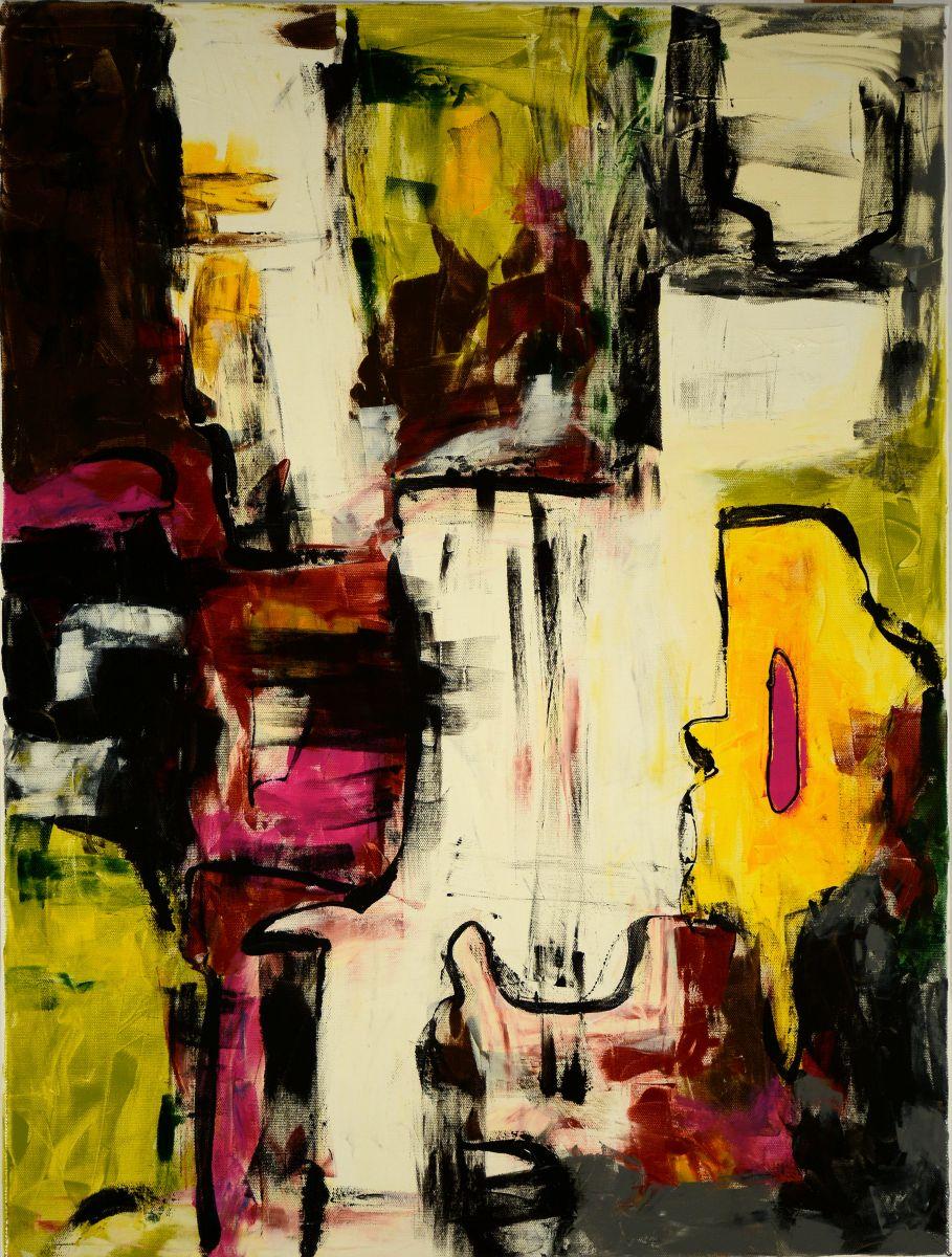 Finn Bjørnseth, komposition - Finn Bjørnseth f. 1962. Akryl på lærred. 80 x 60 cm. Signeret og dateret på bagsiden