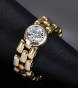 A. Halberstadt, Copenhagen. Alliance link ring in 18 kt. gold, 0.75 ct. TW/VVS diamond