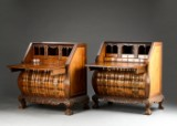Et par næsten identiske orientalske chatoller af padauk og rodtræ, hollandsk barokstil (2)