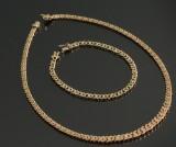 Panser med facet, halskæde i forløb og armbånd, 8 kt guld