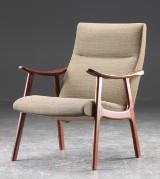 Lænestol af teaktræ, dansk møbelproducent 1950'erne.