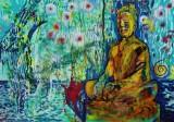 Hans Oldau Krull. 'Smiling Buddha', akryl på lærred