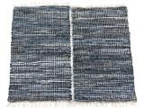 Skindtæpper. To tæpper af læderstrimler (2)