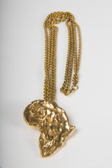 A pendant with rope chain, 585 gold, Africa, length 62cm