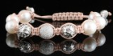 18kt hand woven pearl and diamond bracelet 0.76ct