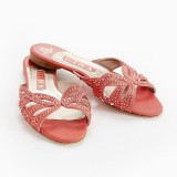 Gina, sandaletter i ceriserosa canvas