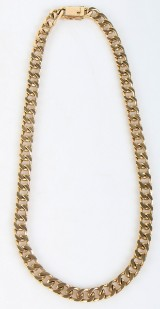 Curb chain. Necklace, 14 kt. gold, approx. 156.4 g
