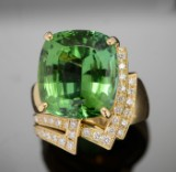 Cocktail ring with tourmaline, brilliant-cut diamonds, 18 kt. gold
