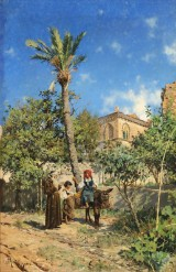 Peder Mønsted. View of Taormina with two girls and monk, oil on canvas